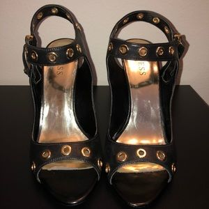 Guess Black with Gold tone hardware heels